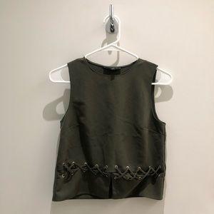 Missguided khaki lattice top